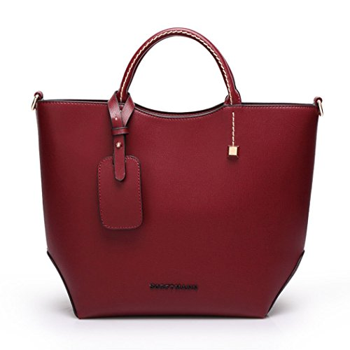Korean-style-Women-Lady-Leather-Satchel-Handbag-Tote-Messenger-Crossbody-Shoulder-Bag-Maroon