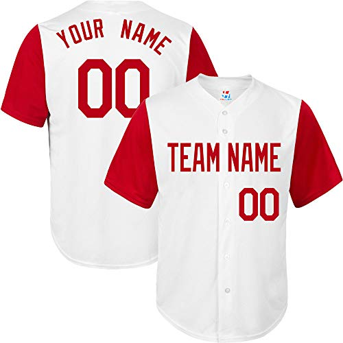 (White/Red League Customized Baseball Jersey for Women Stitched Your Name & Numbers,Red Size S)
