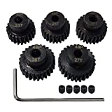 AMOGOT Metal Steel 48P Pinion Gear 23T 24T 25T 26T 27T 3.175mm Shaft Motor Gears Set with Hex Key for 1/10 RC Brushless Brush Motor RC Upgrade Part