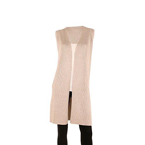 Sleeveless Long Vest (SIONI Women's 'Fine Gauge' Sweater Trendy Sleeveless Long Vest With Side Slits,Natural,Medium)