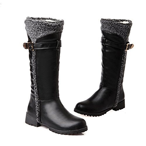 1TO9 Ladies Square Heels Buckle Non-Slipping Sole Soft Material Boots Black fs5axHI