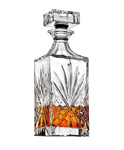Crystal Decanter for Liquor, Whiskey, and Bourbon - 25 Oz. Lead Free | Irish Cut design | Packaged in a Beautiful Gift Box