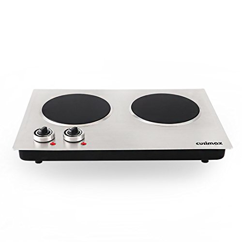 Cusimax 1800W Infrared Cooktop, Ceramic Double Countertop Burner with Dual Temperature Control, CMIP-C180, Stainless Steel by CUSIMAX (Image #3)