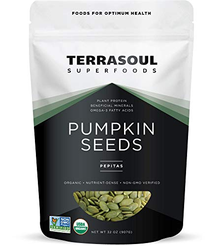 Terrasoul Superfoods Organic Pumpkin Seeds, 2 Lbs - Premium Quality | Fresh | Raw | Unsalted ()