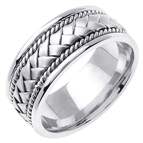 Titanium & Sterling Silver Hand Braided Wedding Ring Band for Men (Sizes 9 - 14)