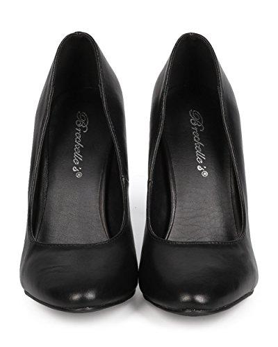 Breckelles Ea42 Kvinnor Läder Mandel Tå Klassiska Stilett Pump Svart