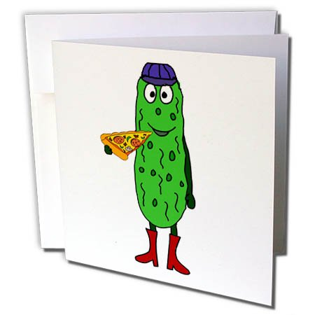 - 3dRose Funny Cute Pickle Eating Pizza Slice - Greeting Card, 6
