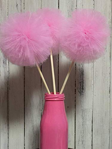Set 5 Tulle Pompom wand Centerpiece Flowers Fluffy Tulle Pom Poms Ball wands for Baby Shower Decorations, Wedding Decor, Birthday Party Favors Celebration