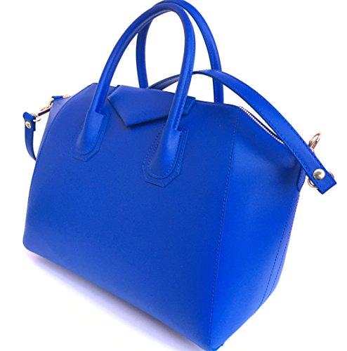 véritable cuir Fabriqué main en Bleu Lissé Model Italie à en Superflybags Rebecca Sac gFOIqXw
