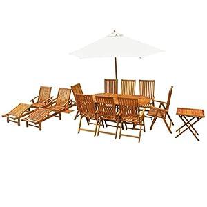 LD, set di mobili da giardino in legno di acacia, 13 pezzi 3 spesavip