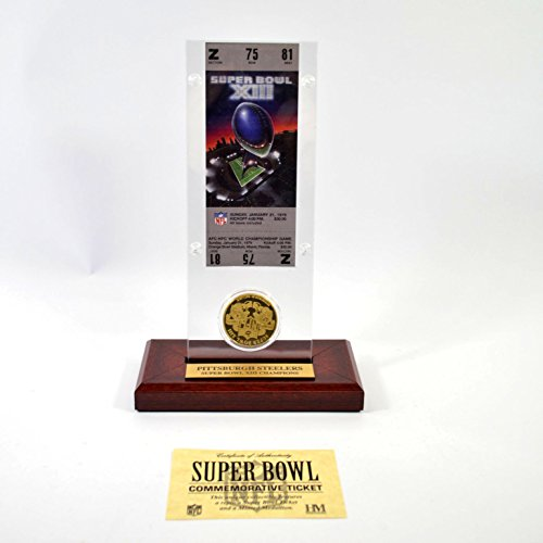 Highland Mint Super Bowl XIII Replica Ticket with Bronze Coin (Super Bowl Bronze Coin)