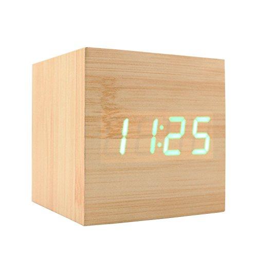 (JLYSHOP Wooden Alarm Clock, USB Digital Retro Alarm Clock Cube Wood Led Desktop Table Home Decor Mini Travel Clock Voice Sound Control (Wood))