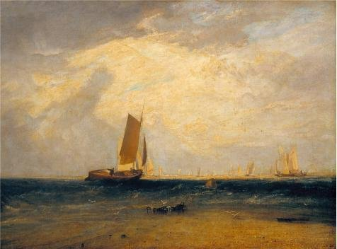 'Joseph Mallord William Turner - Fishing Upon The Blythe-Sand, Tide Setting In,1809' Oil Painting, 12x16 Inch / 30x41 Cm ,printed On Polyster Canvas ,this High Definition Art Decorative Prints On Canvas Is Perfectly Suitalbe For Bar Decoration And Home Gallery Art And Gifts