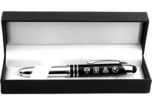Symbols of Law and Justice - Gift Pen with Light and Stylus Tip - Gift for Lawyers, Law Students, Paralegals, Judges, Government Officials, Police Officers ()