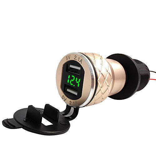 (Finedayqi ❤ 4.2A Aluminum Motorcycle Dual USB Charger DIN Socket Voltmeter for Motorbike (Gold))