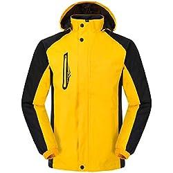VSKA Mens Bolsillos Cortavientos Snowboard Chaqueta con Capucha de Seguridad Yellow 2XL