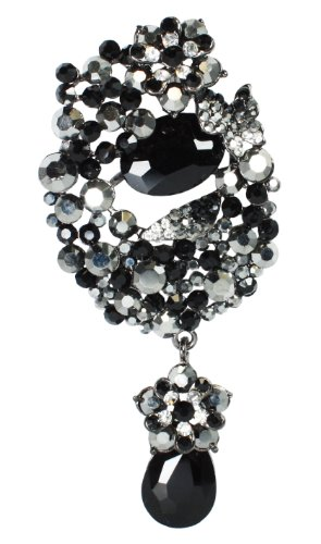 [Bijoux De Ja Black Rhodium Plated Black Crystal Vintage Pin Brooch Pendant] (80s Prom Dress Costume Ideas)