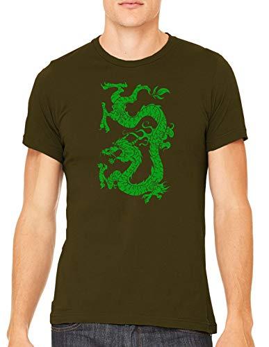 Austin Ink Apparel Green Dragon Tattoo Unisex Premium Crewneck Printed T-Shirt Tee