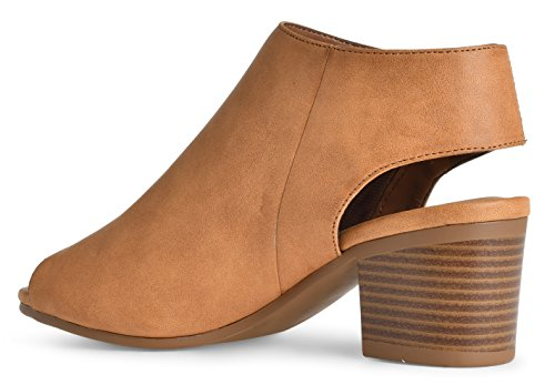 Ankle Toe Open Velcro Pu Cut Andrea Heel Tan Bootie Low Women's Nude LUSTHAVE Stacked Out Casua tqEaPAw