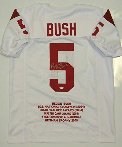 (Reggie Bush Autographed Signed White Stat Jersey- Memorabilia JSA Authenticenticated)