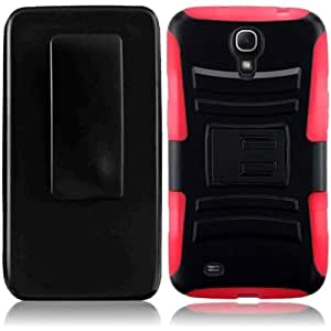 HR Wireless Samsung Galaxy Mega 6.3 Side Stand Cover with Holster - Retail Packaging - Black/Red
