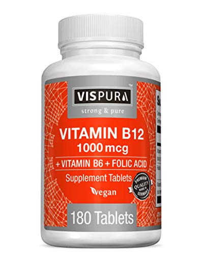 VISPURA Vitamin B12 1000 mcg + B6/Folic Acid, Methylcobalamin & Sublingual for Maximum Effects, Vegan, 180 Tablets for 6 Months | Non-GMO, Gluten Free