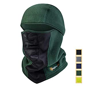 AstroAI Ski Mask Winter Face Mask Breathable and Windproof Balaclava for Cold Weather, Gifts for Men Women (Superfine Polar Fleece, Army Green)