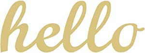 Word Hello Cutout Unfinished Wood Hi Hey Everyday Door Hanger MDF Shaped Canvas Style 1 (6