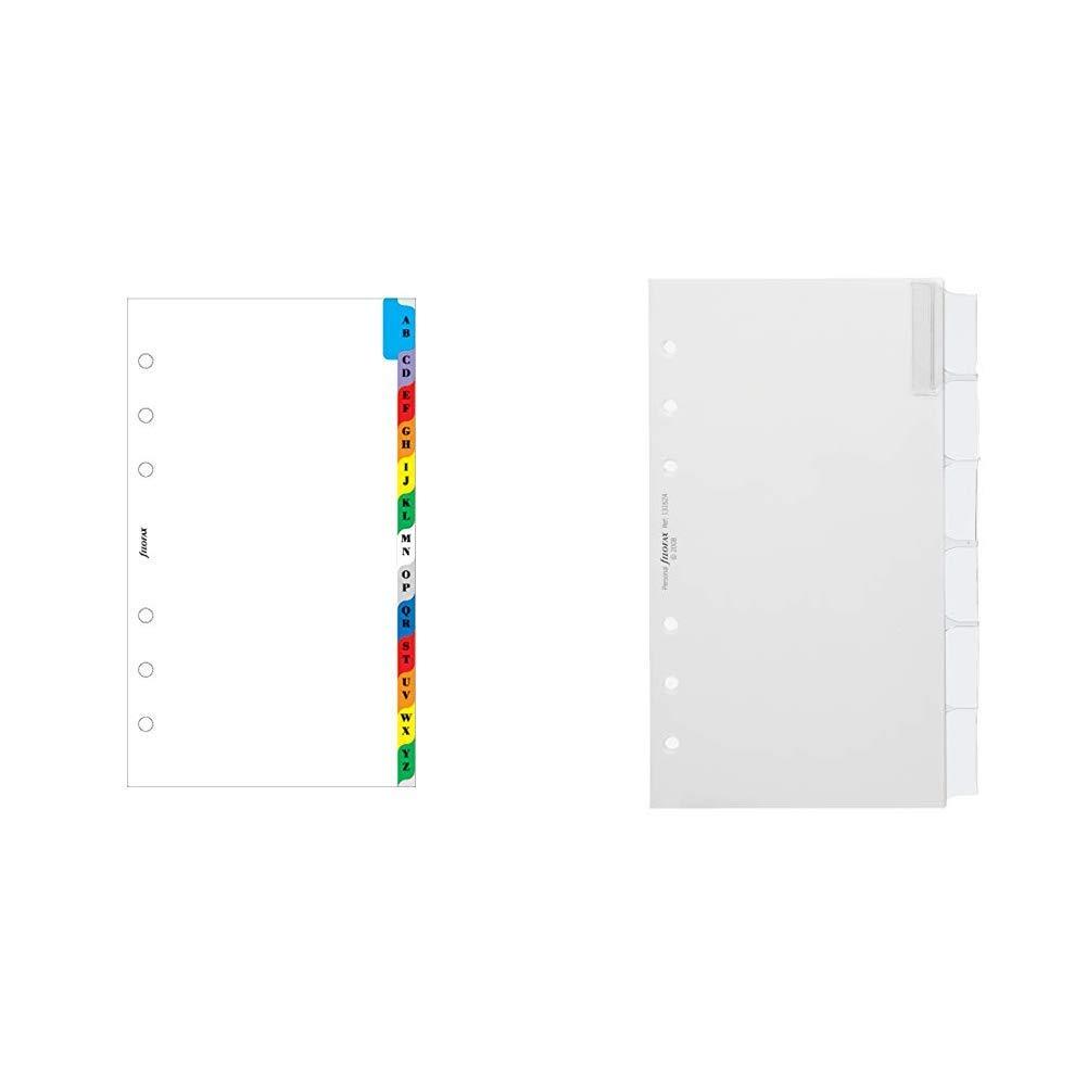 Filofax Personal A-Z Index Multi-Coloured 2 Letters Per Tab /&Personal Blank Index with Multi-Coloured Labels 6 Tabs White