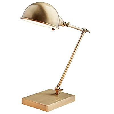 "Stone & Beam Vintage Task Lamp With Bulb, 14""H, Antique Brass - This task lamp is a classic example of vintage modern style. Both arm and hood adjust, allowing you to point light just where you need it. The warm antiqued brass finish allows it to blend with classic or modern style rooms. 6.5""W x 10""D x 14""H Metal with antiqued brass finish; black cord - lamps, bedroom-decor, bedroom - 419qrVSQ93L. SS400  -"