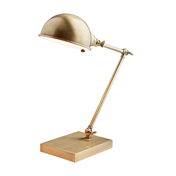 """Stone & Beam Vintage Task Table Desk Lamp With LED Light Bulb - 6.5 x 10 x 14 Inches, Antique Brass - This task lamp is a classic example of vintage modern style. Both arm and hood adjust, allowing you to point light just where you need it. The warm antiqued brass finish allows it to blend with classic or modern style rooms. 6.5""""W x 10""""D x 14""""H Metal with antiqued brass finish; black cord - lamps, bedroom-decor, bedroom - 419qrVSQ93L. SS570  -"""