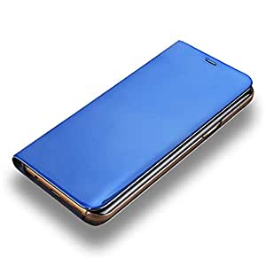 LAGUI Funda Adecuado para Xiaomi Mi 8 Lite, Clear View Carcasa Flip Inteligentes. Azul