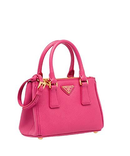 (Prada Bandoliera Saffiano Lux Fuchsia Pink Leather Mini Tote Cross Body Handbag 1BH907)