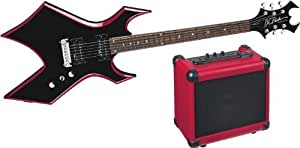 B.C. Rich Red Bevel Warlock Guitar Pack, Black with Red Bevels