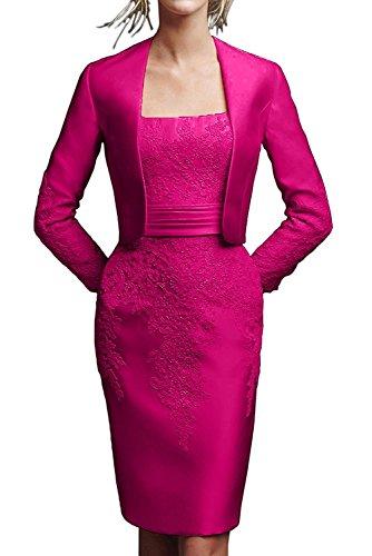 Damen Etuikleider Satin Knielang Braut Knielang Brautmutterkleider Pink Marie Abendkleider Spitze La Schwarz qHZwC4
