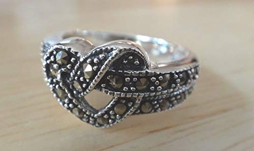 size 8 Sterling Silver 5 gram 14mm Open Knot Heart Marcasite 4mm wide band Ring