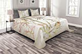 Lunarable Bamboo Tree Bedspread Set Queen Size, Vintage Nature Bamboo Leaf and Cute Birds on Branches Floral Animal Print, Decorative Quilted 3 Piece Coverlet Set with 2 Pillow Shams, Coral and Tan
