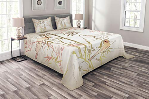 Lunarable Bamboo Tree Bedspread Set Queen Size, Vintage Nature Bamboo Leaf and Cute Birds on Branches Floral Animal Print, Decorative Quilted 3 Piece Coverlet Set with 2 Pillow Shams, Coral and Tan by Lunarable