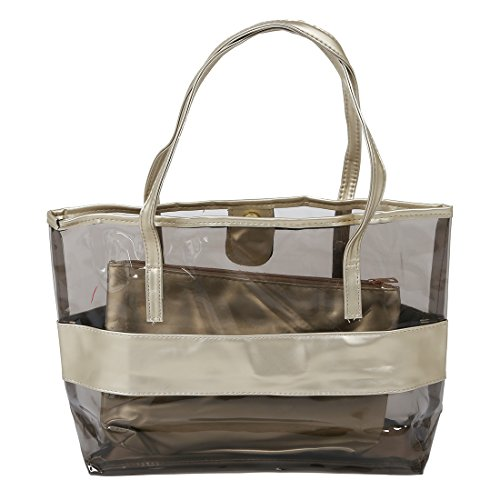 Beach Polyester Cosmetic Waterproof Bag SODIAL Small with Bag R Half and PVC gold Transparent Hand Bag Rq0vSq