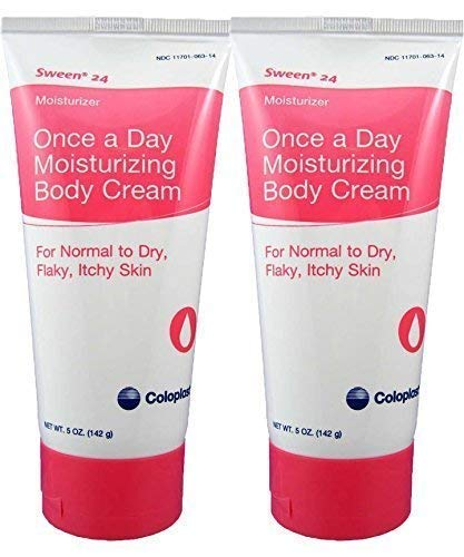 (Coloplast Sween 24 Once a Day Moisturizing Body Cream For Normal, Dry, Flaky and Itchy Skin (2) 5oz Tubes)