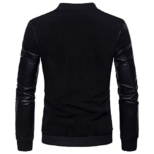 Long Jacket Sleeved Black Quilted XINHEO Leather Collar Stand Men's Faux Oversize xqYFaC