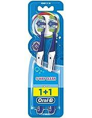 Oral B Complete 5 reinigingszones handtandenborstel, 40 middel, duopack, 2 stuks (gesorteerd op kleuren)