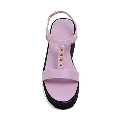 Amoonyfashion Mujeres Pu Kitten-heels Sandalias De Hebilla Sólida De Punta Abierta Purple