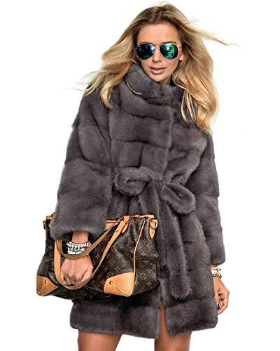 Invernali Pelliccia Sintetica Lanoso Laterali Collo Lunga Especial Giacca Coreana Manica Qualità Grau Donna Caldo Di Cappotti Giubotto Alta Tasche Estilo Colori Solidi qgaty5w