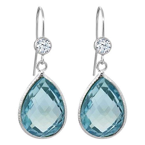 Gem Stone King 18.66 Ct Pear Shape Checkerboard Swiss Blue Topaz White Topaz 925 Silver Earrings