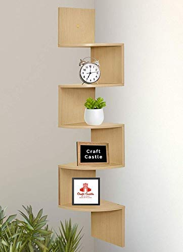 CRAFTCASTLE Wall Decor Corner Shelves/Zigzag Display Rack/Corner Shelf  5 Shelves,Teak Wood  Wall Shelves