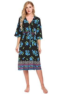 Ekouaer Womens Bathrobes Print Long Lightweight Spa Kimono Robes Sleepwear