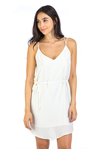 Eight Sixty Women's Cross Back Slip Dress L Ecru