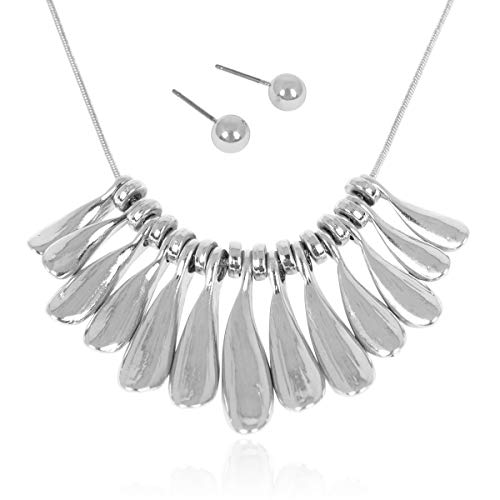 RIAH FASHION Bohemian Geometric Metallic Necklace - Boho Tribal Chain Bib Collar Choker Wavy Bar Fringe/Spike Tooth (Leaf Fringe - - Metallic Spike Collar
