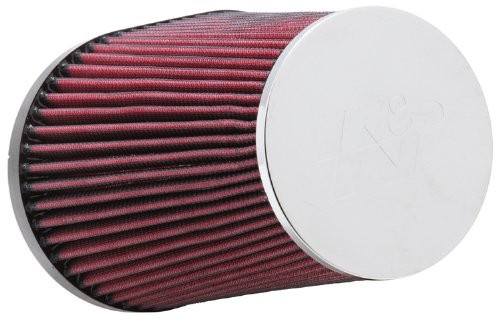 K&N RC-5055 Universal Clamp-On Air Filter: Oval Tapered; 3.938 in (100 mm) Flange ID; 6.875 in (175 mm) Height; 7.438 in x 5.438 in (189 mm x 138 mm) Base; 4.5 in x 4.5 in (114 mm x 114 mm) Top
